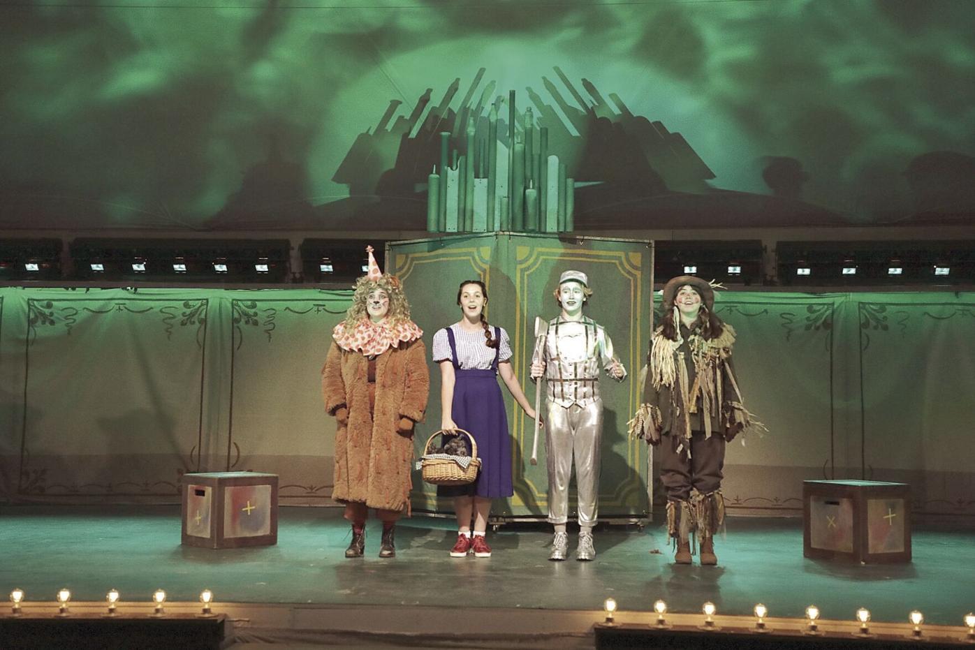 Cowardly Lion, Dorothy, Tin Man, and Scarecrow