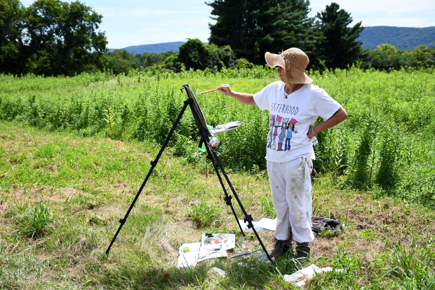 Woman paints in a field