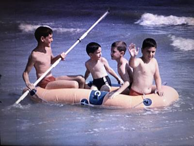 Boys in raft