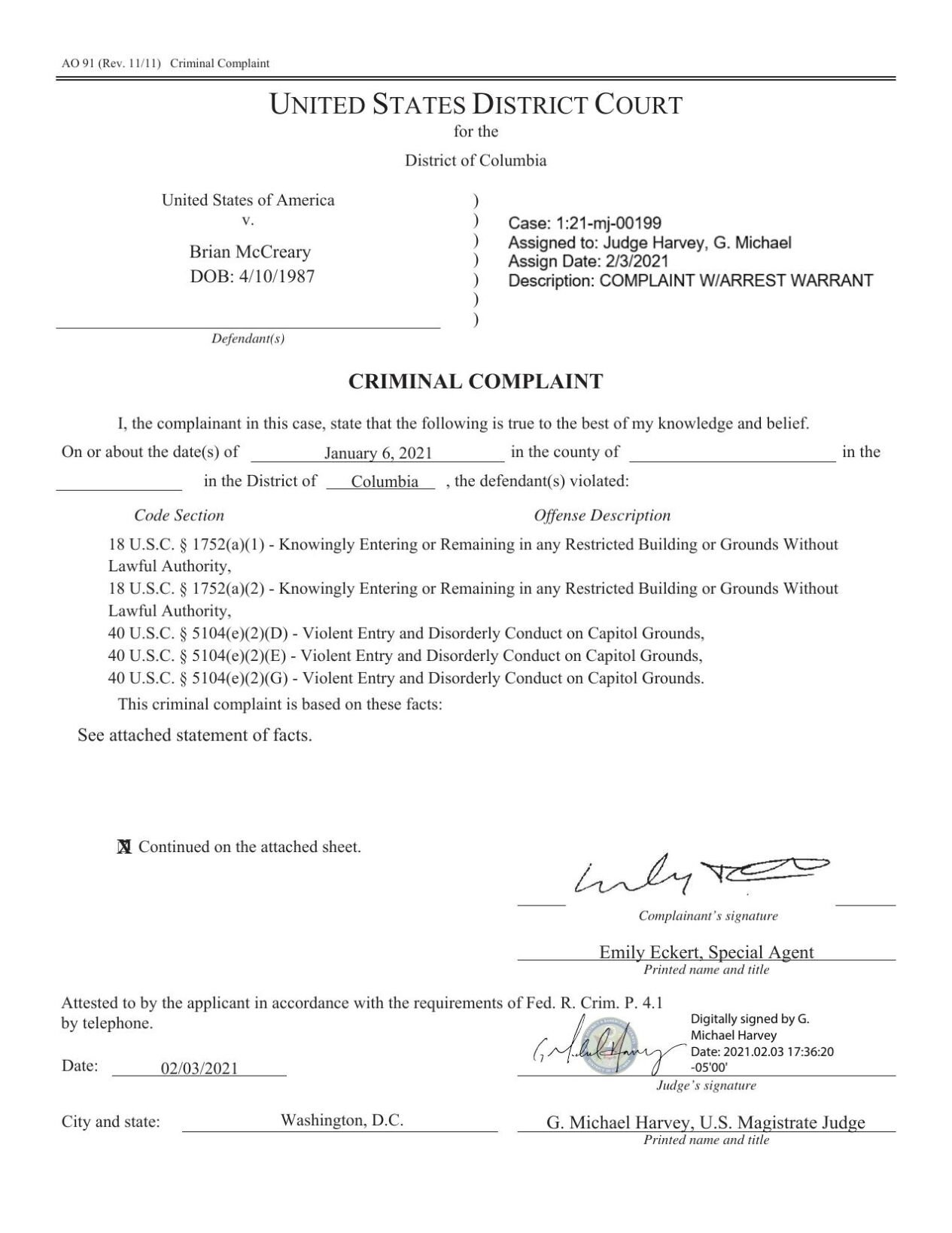 McCreary court complaint