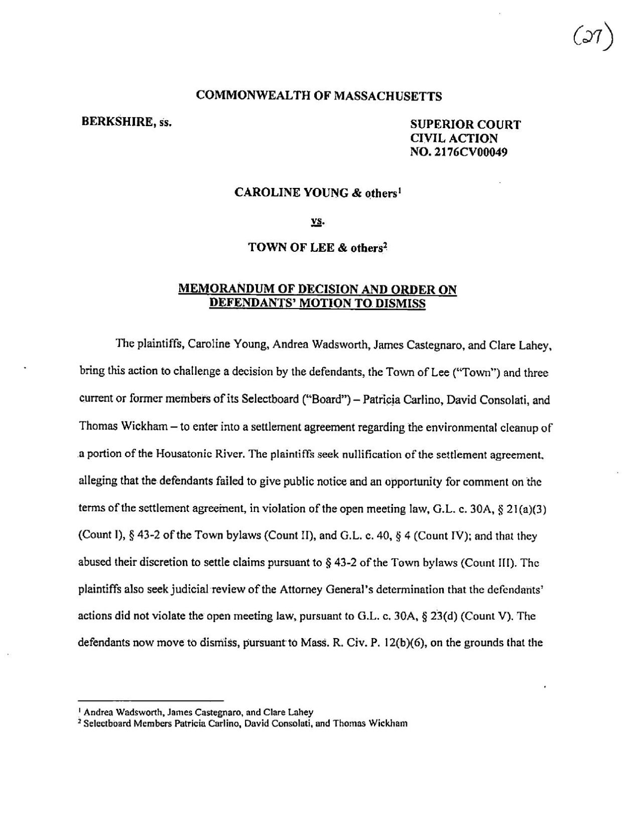 Judge Callan decision in Lee lawsuit