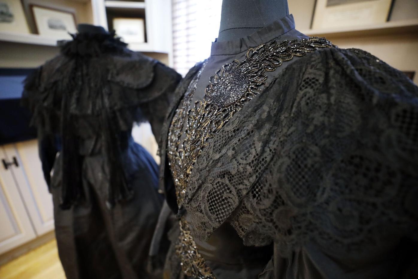 black beaded Victorian women's mourning dress