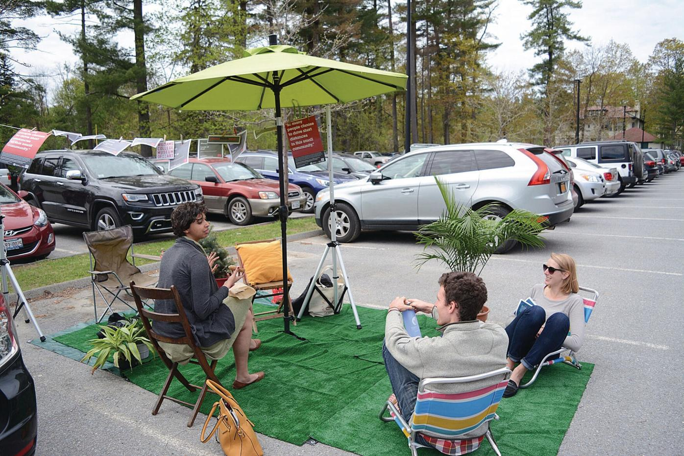 Williams students turn parking spaces into 'parks' to call attention to climate change