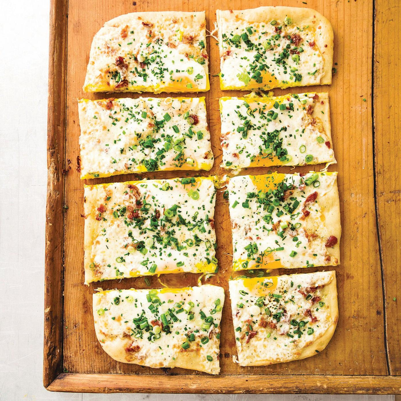 Breakfast pizza is ideal for a brunch crowd