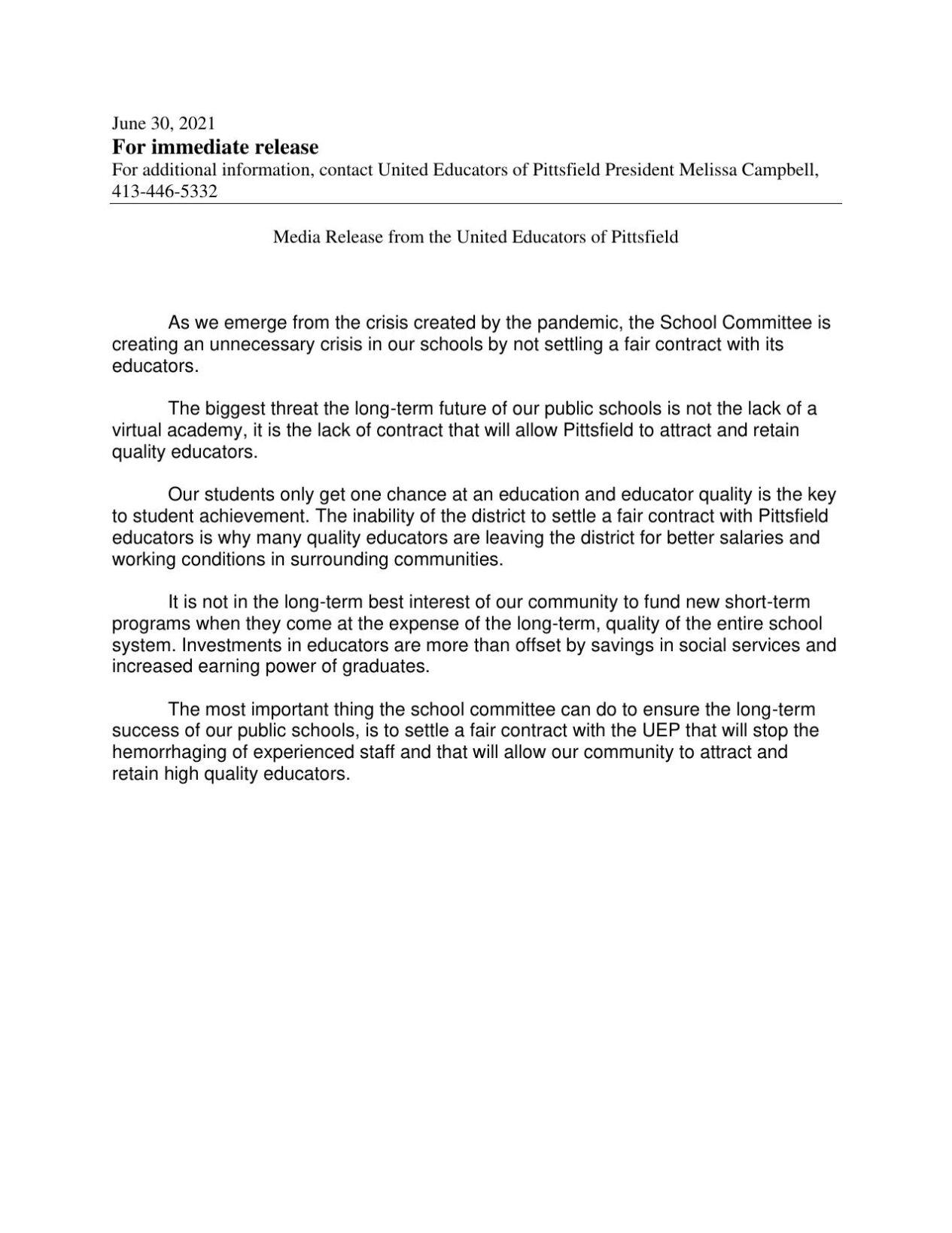 UEP statement