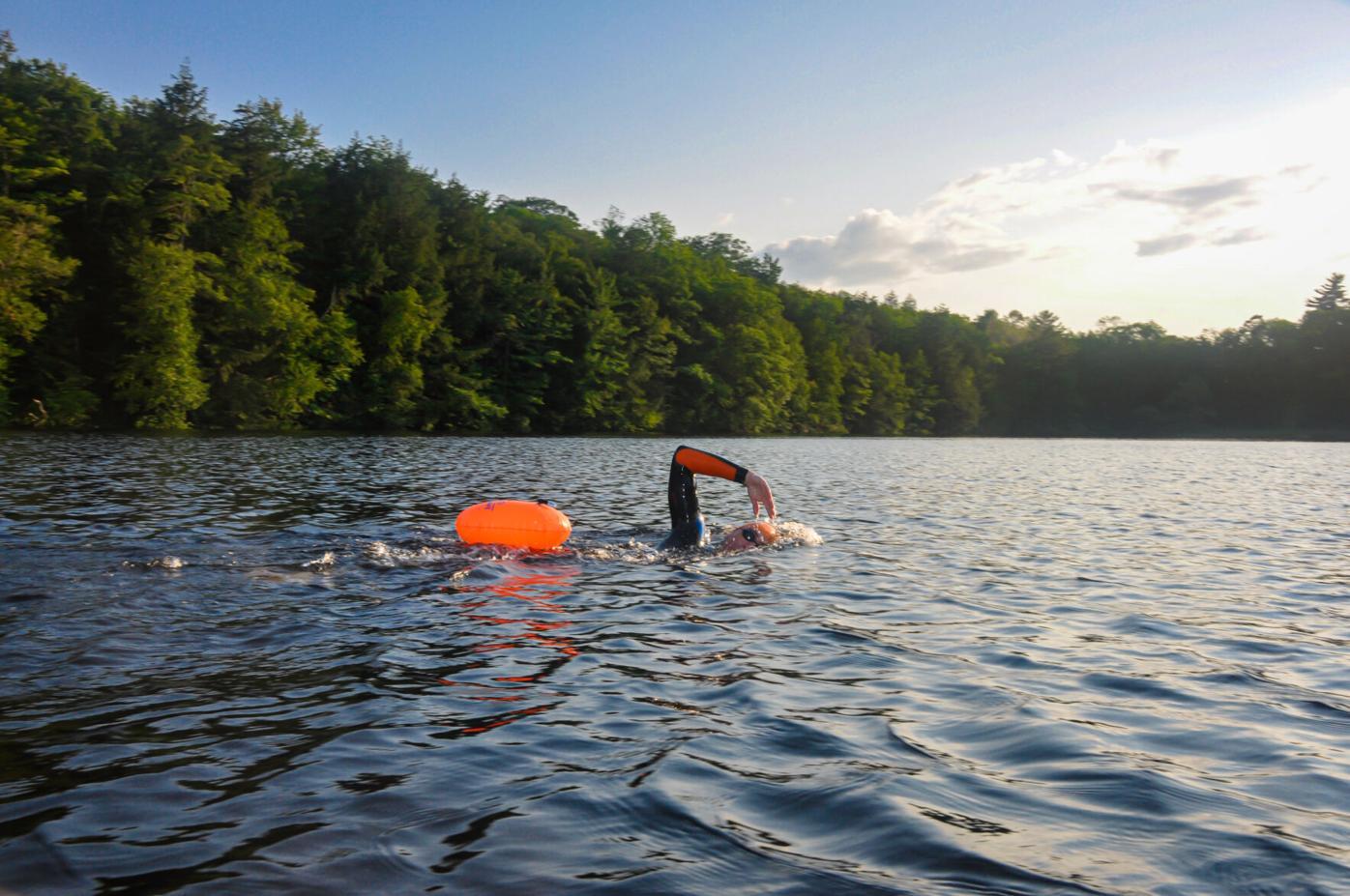 Open swimmer on Goose Pond