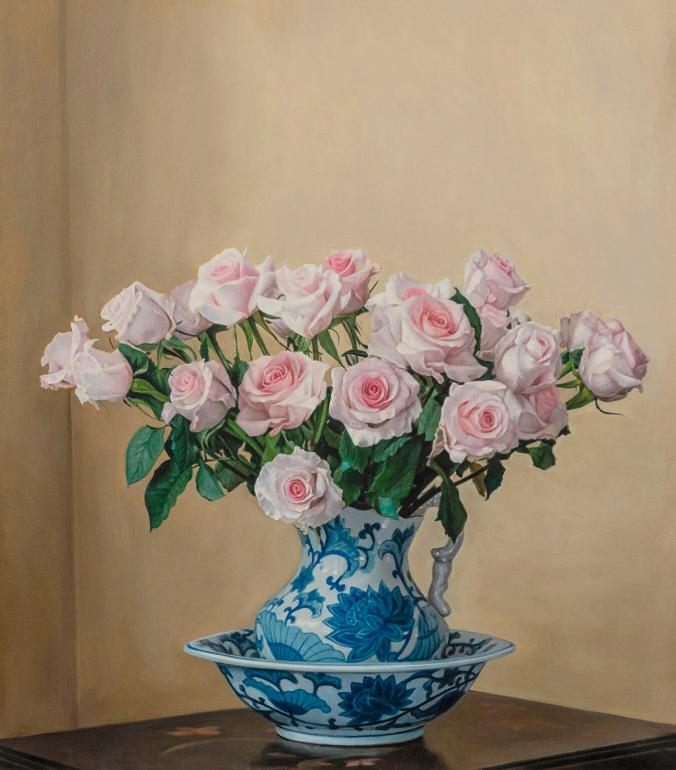 Oil painting of flowers in blue and white vase