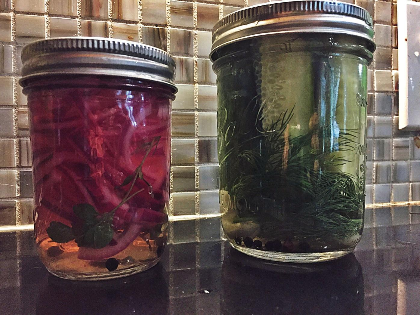 Fresh herbs from the garden shine in refrigerator pickles