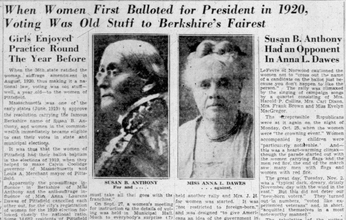 Newspaper image: Susan B. Anthony had an opponent in Anna L. Dawes