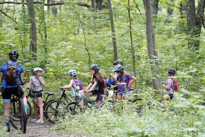 Group of young mountain bikers