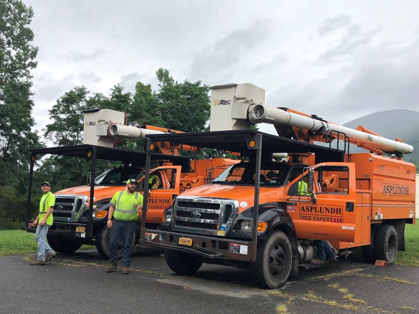 Workers standing next to tree and power line trucks