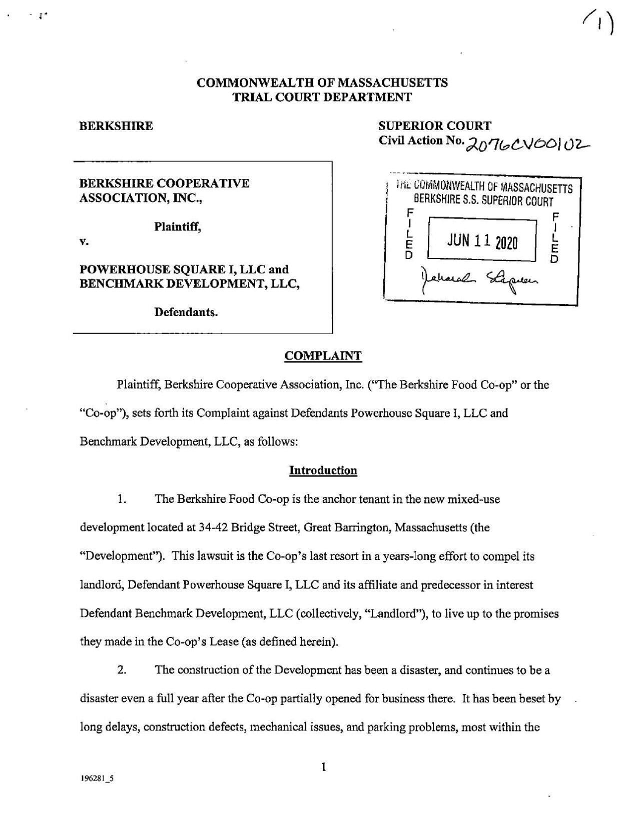 Berkshire Food Co-op lawsuit against Powerhouse