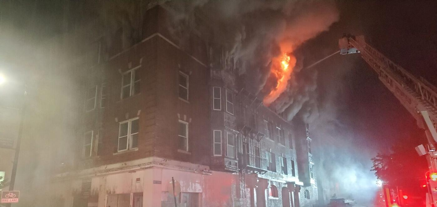 Flames in building windows