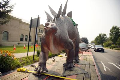 Wally the stegosaurus returns to Pittsfield on a flatbed (copy)