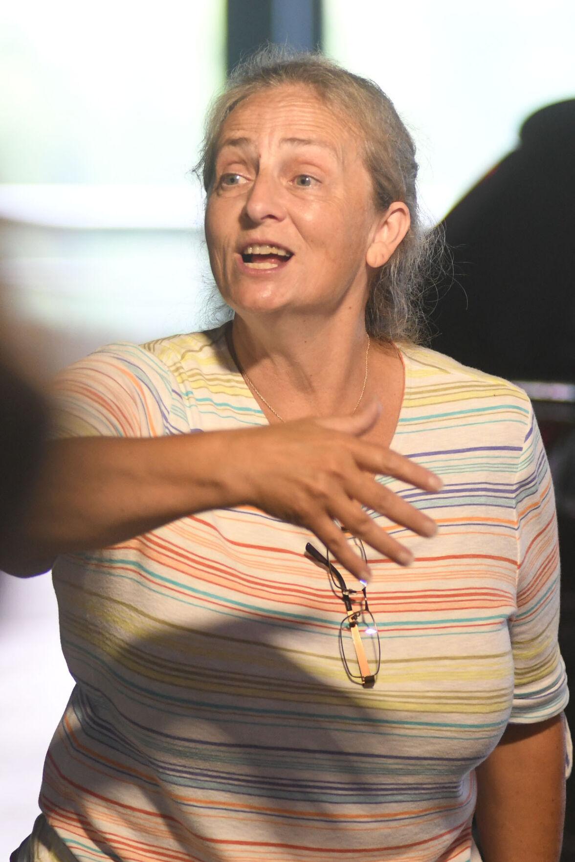 A woman sings