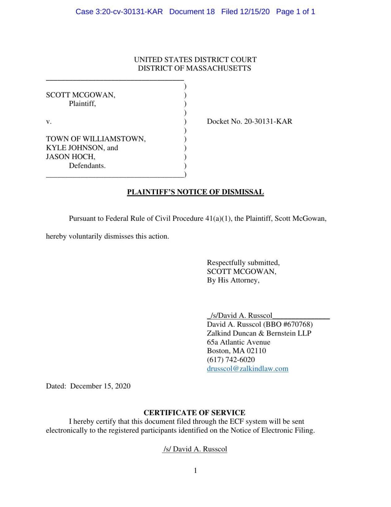 McGowan Notice of Dismissal