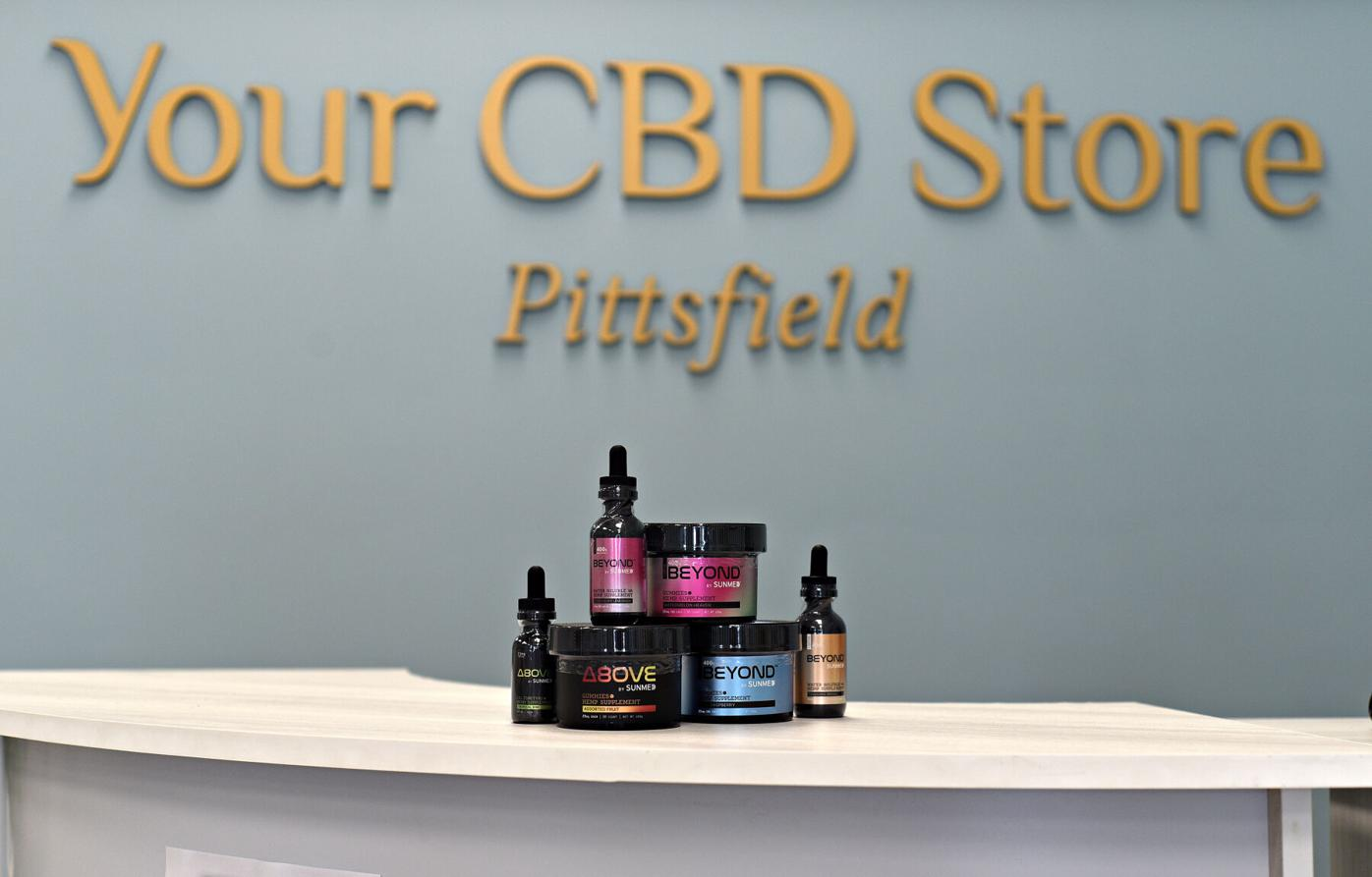 The Above and Beyond line of CBD products on display