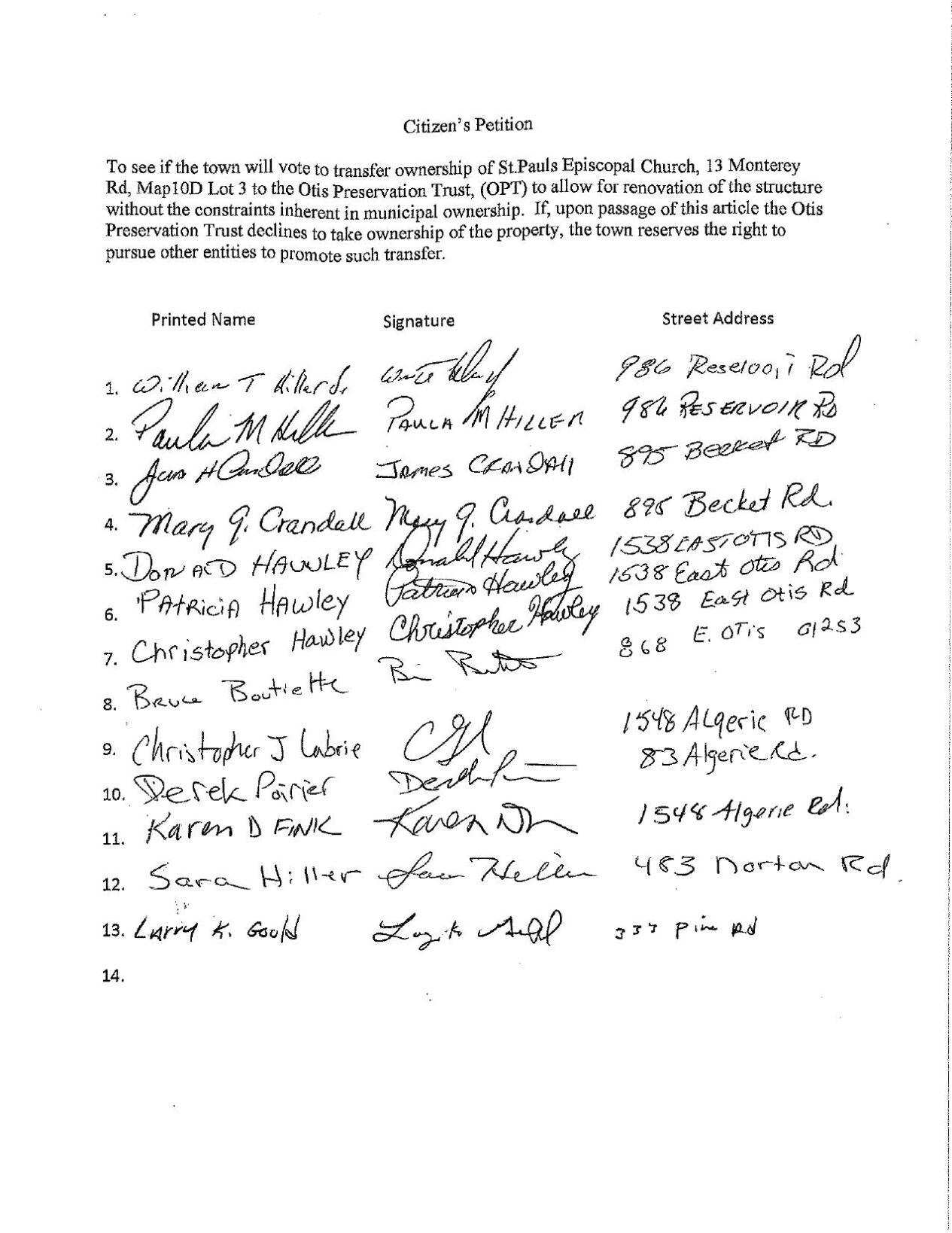 Otis Citizens' Petition St. Paul's Episcopal Church