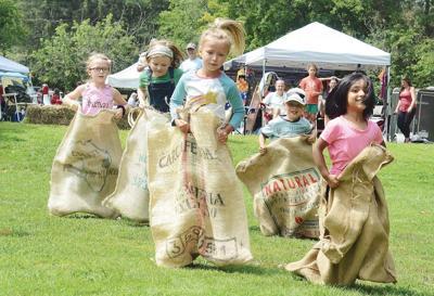 Children in sack race