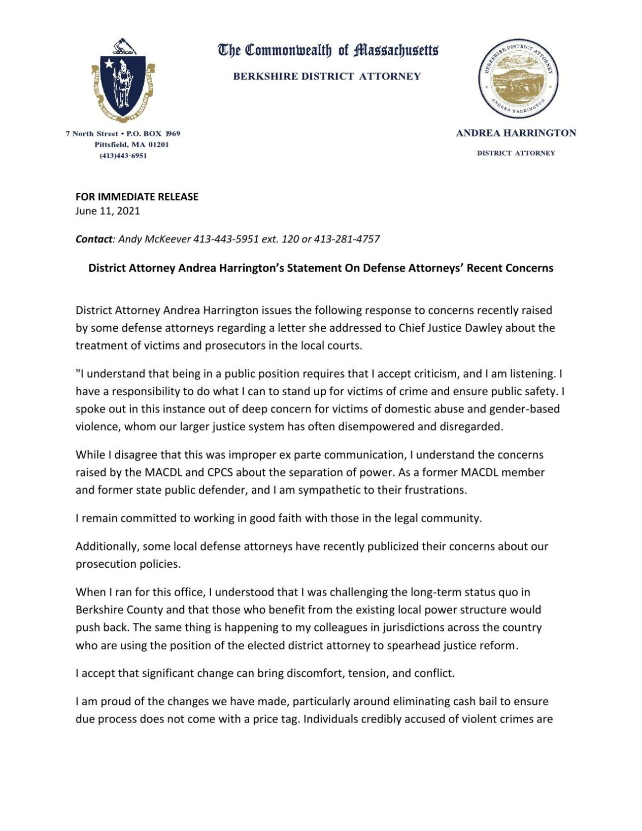 District Attorney Andrea Harrington press release issued Friday
