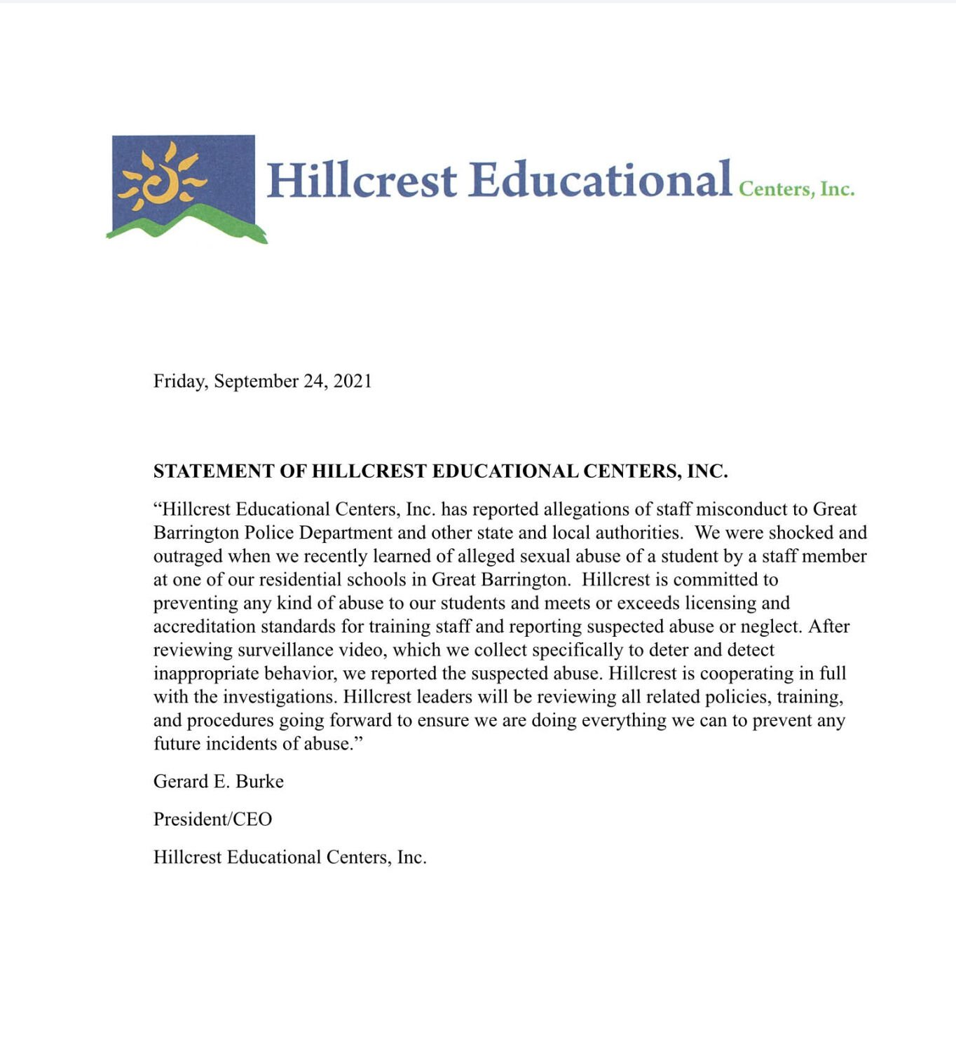 Statement from Hillcrest Educational Centers, Inc.
