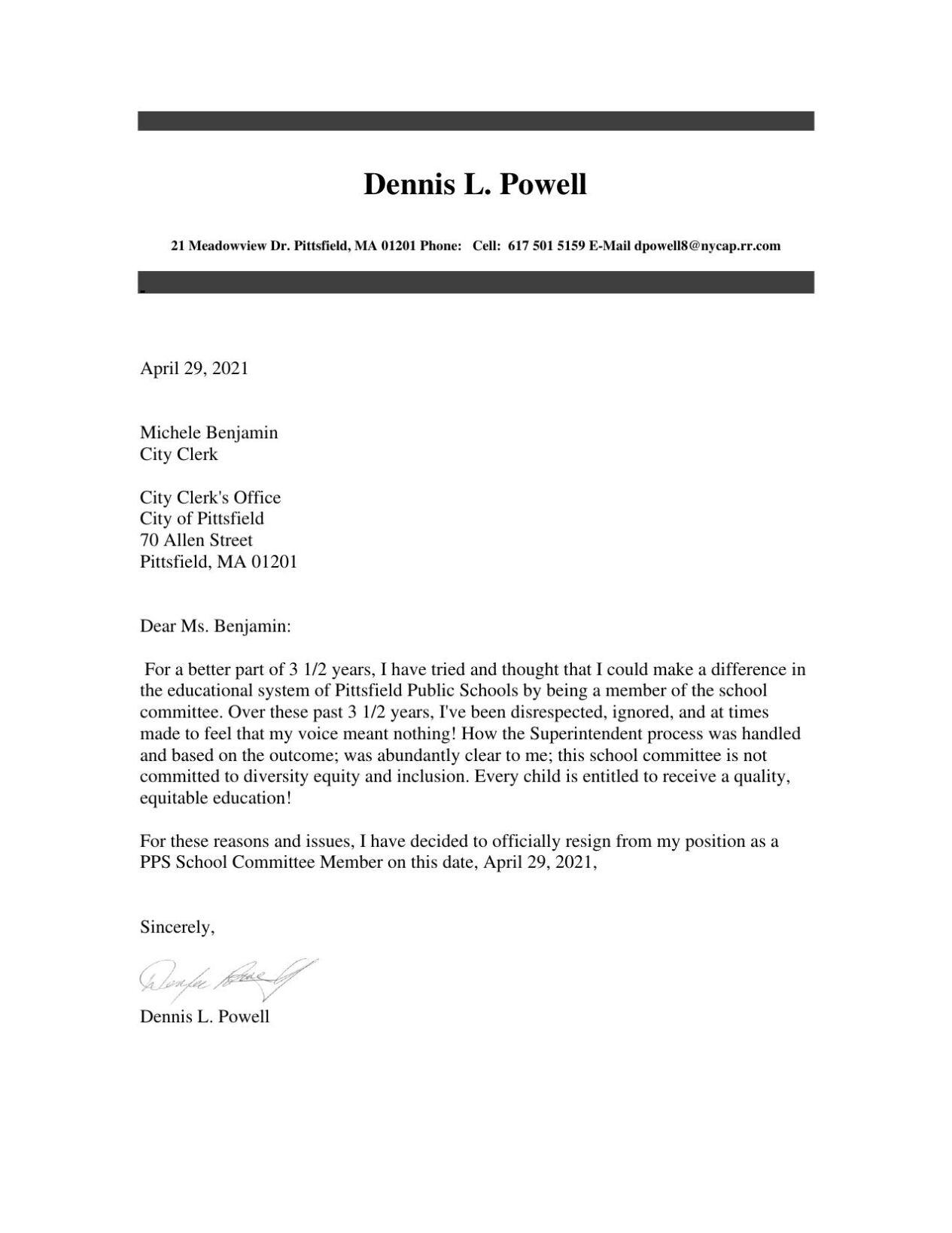 Dennis Powell resignation letter
