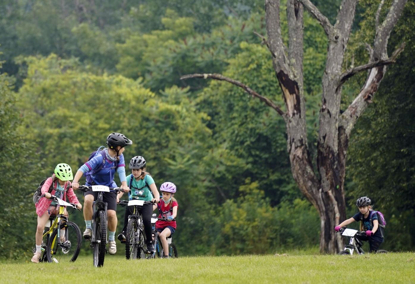 Bikers riding in Springside Park