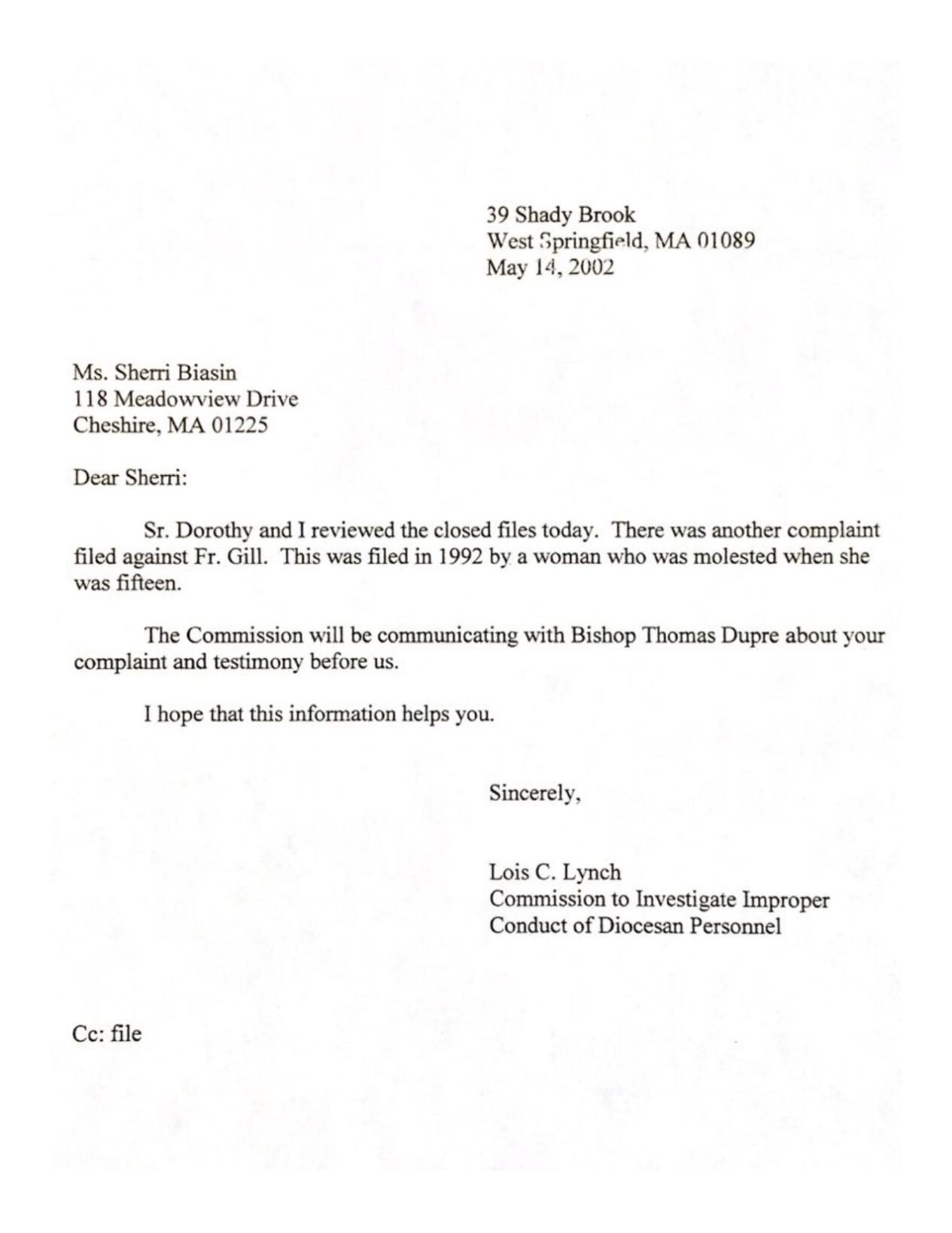 DOCUMENTS: 3 early letters from Springfield Diocese to Sheri A. Biasin