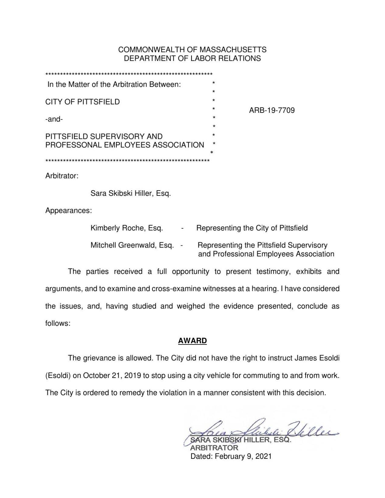 Pittsfield arbitration decision 2021