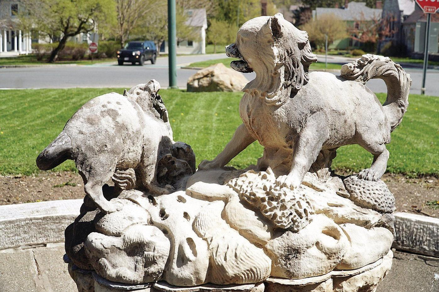 Cat and Dog Fountain, Horse Trough in downtown Stockbridge ready for restoration