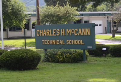 The sign outside Charles McCann Technical High School