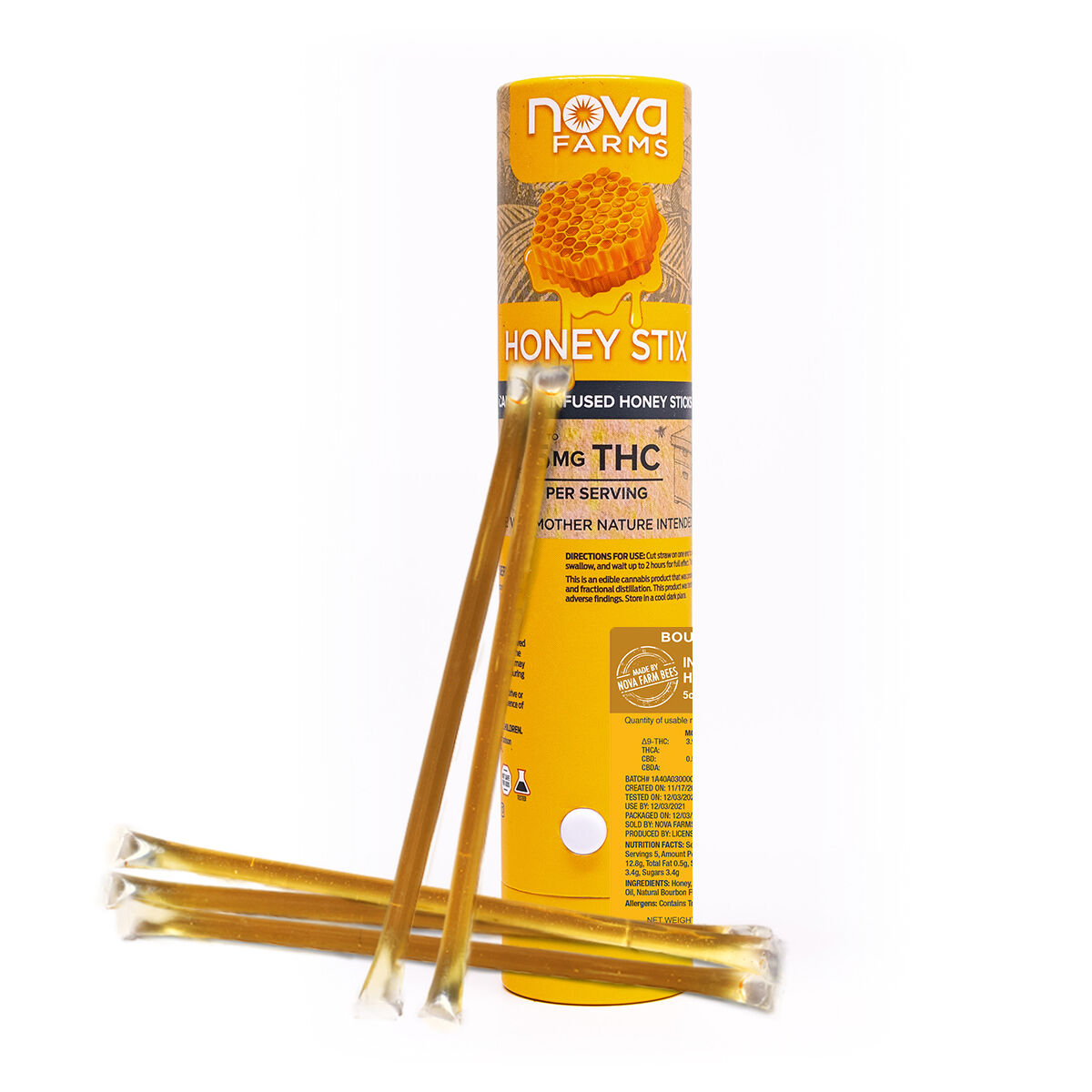 A cardboard tube of THC infused honey sticks.