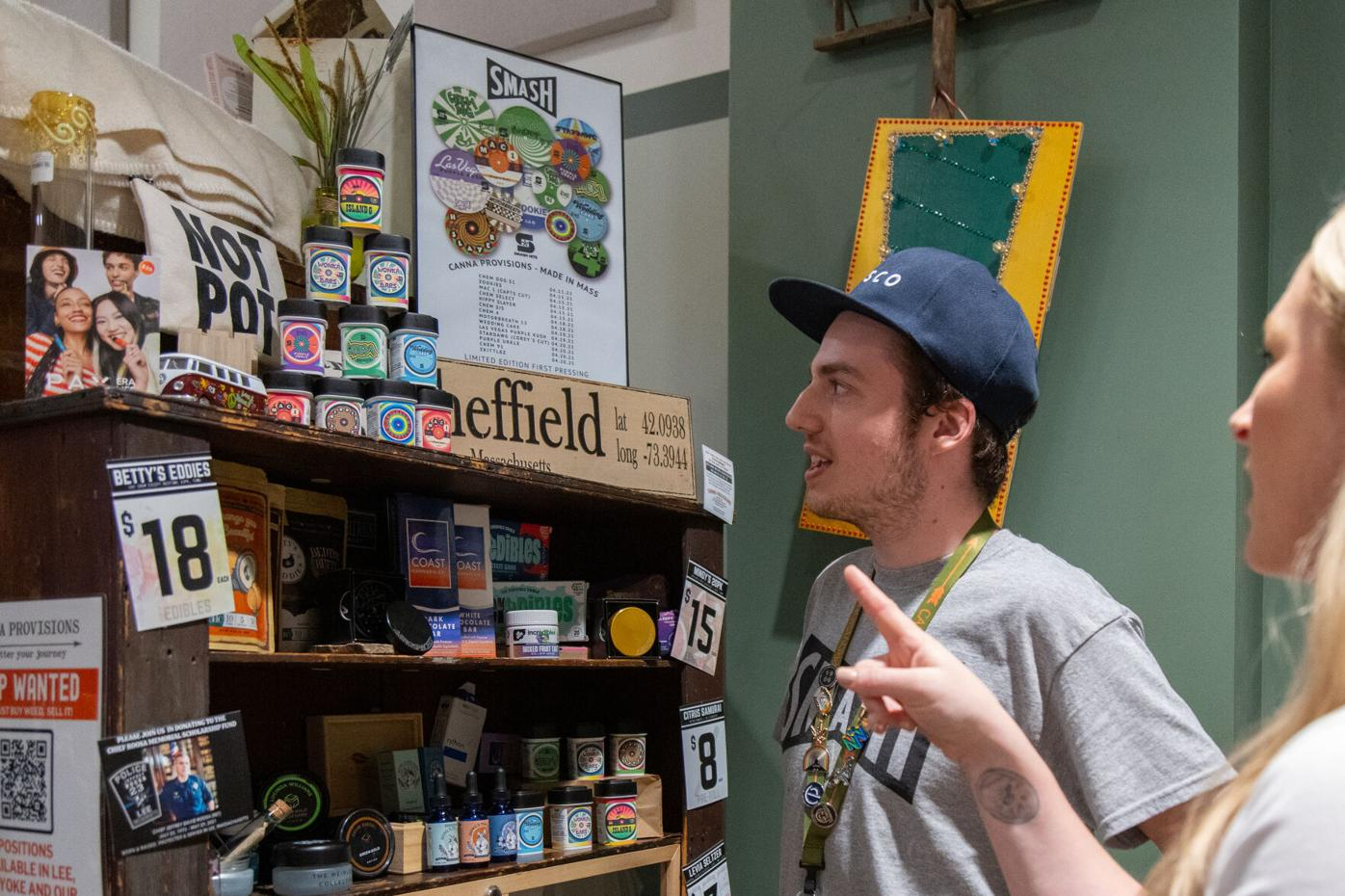 Two customers peruse the inventory at Canna Provisions in Lee (copy)