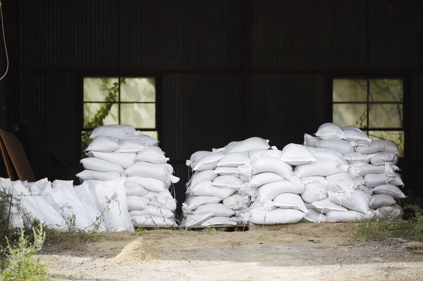 sand bags piled in garage (copy)