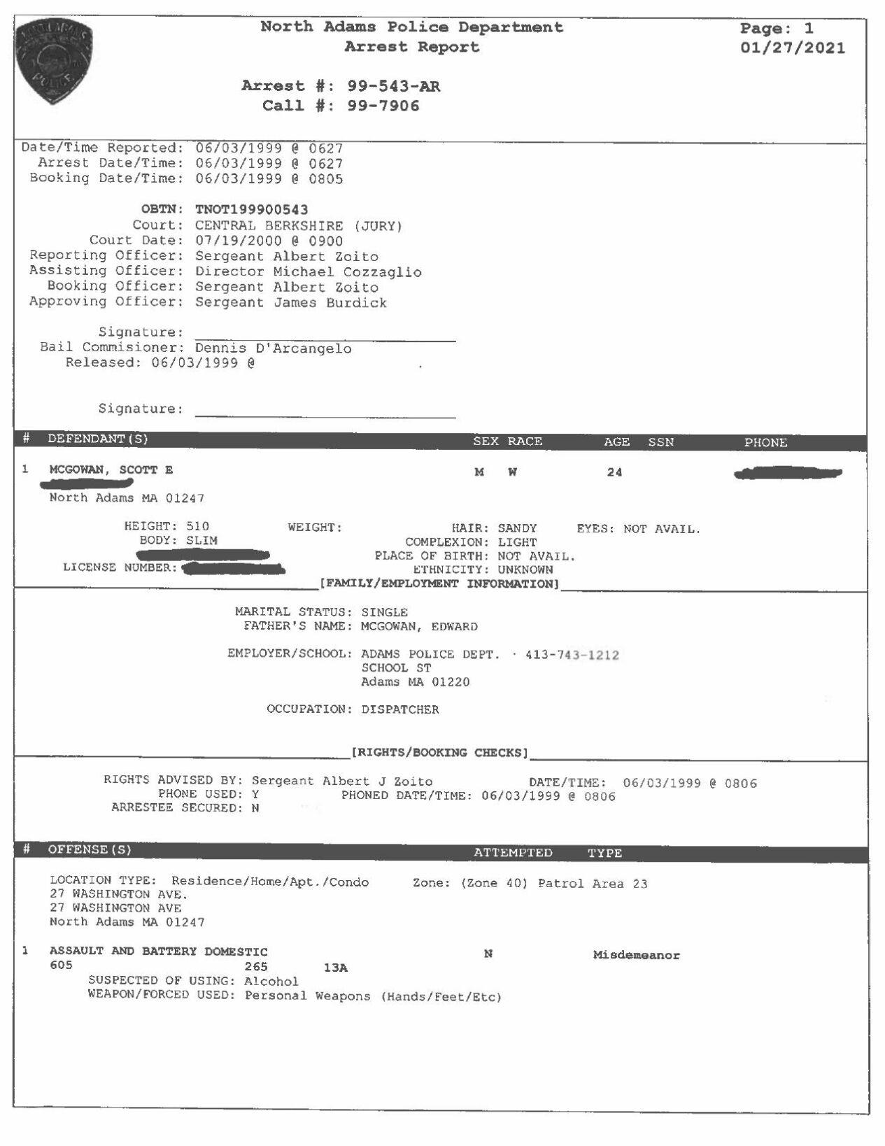 Scott E. McGowan June 1999 North Adams Police Records.pdf