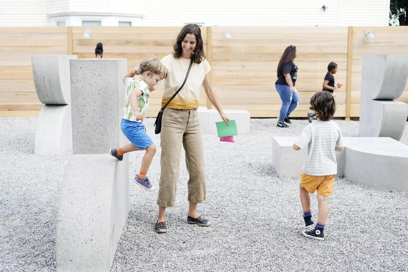 Kids play at the new park