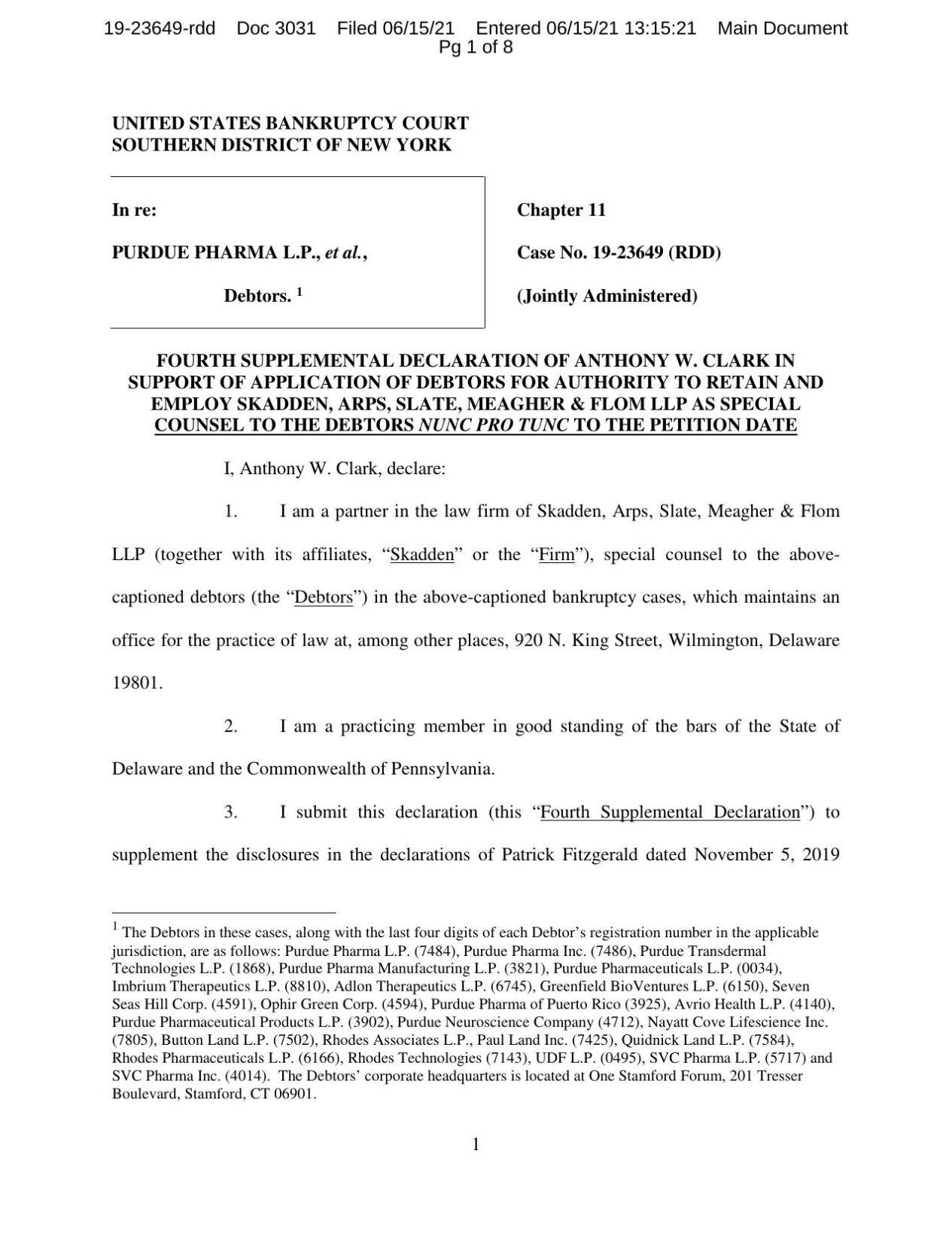 Purdue Pharma bankruptcy document
