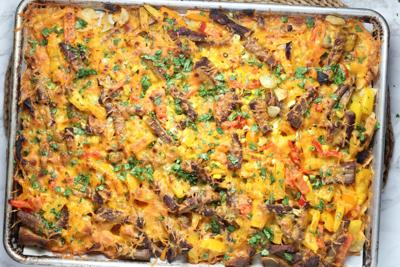 Nacho casserole on a sheet pan
