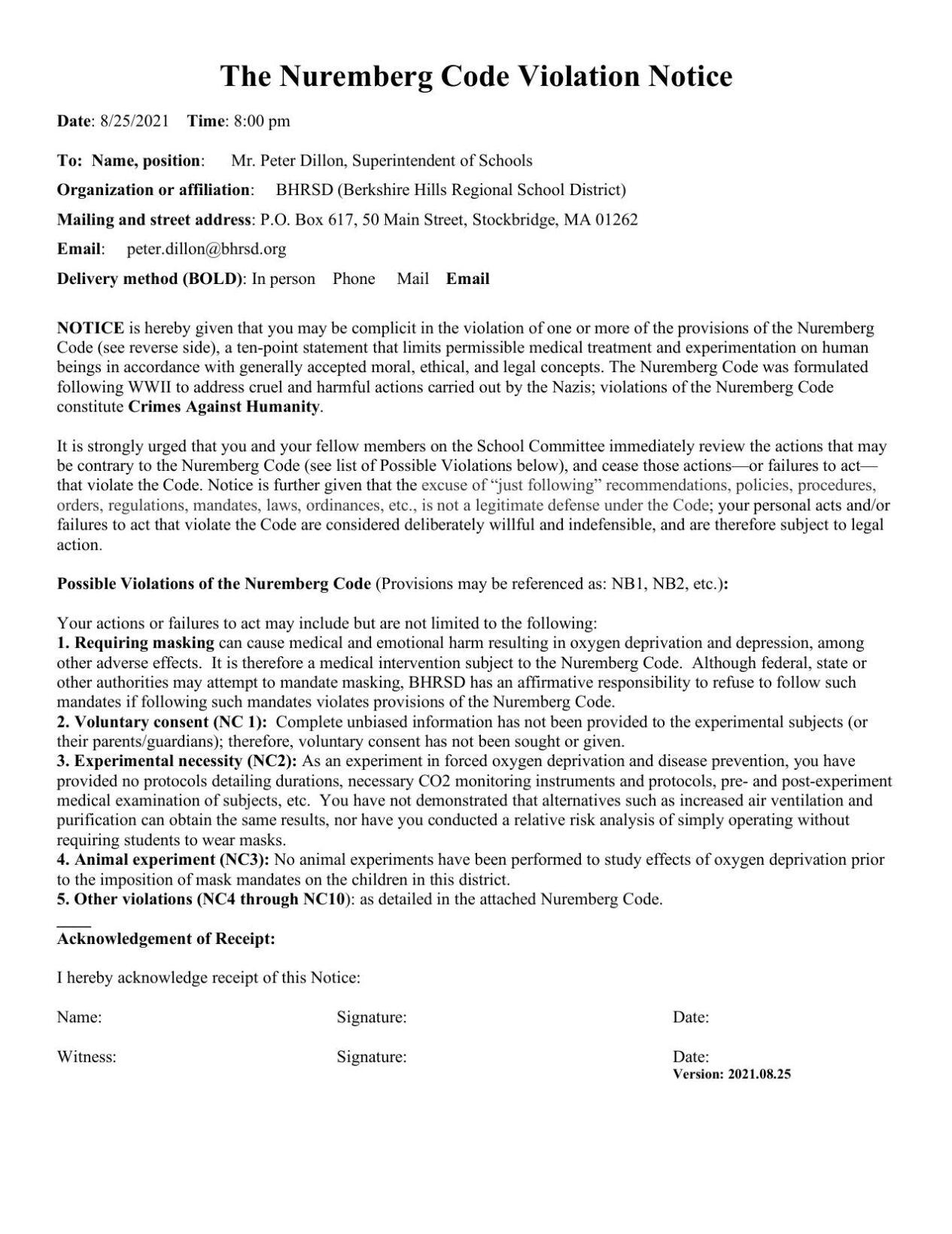 Nuremberg violation notice sent to Berkshire Hills officials