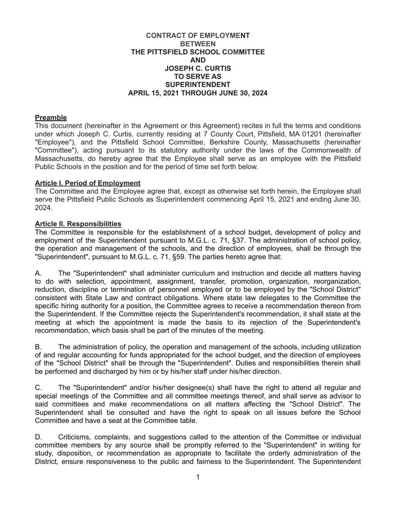 Joseph Curtis employment contract