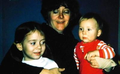 Photo of the author as a child with her mother and brother.
