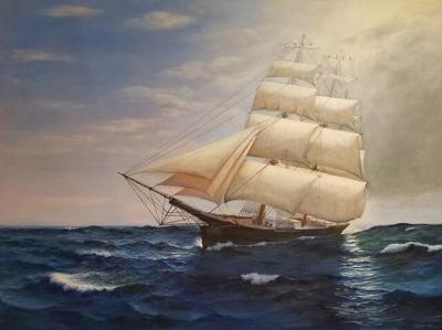 Howard Greenhalgh, Clipper Ship, Oil on Canvas.jpeg