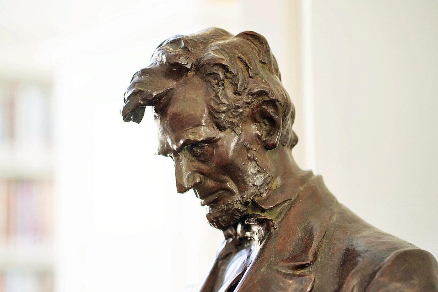 Mini-replica of French's Lincoln statue now in good standing, permanently, at Stockbridge library