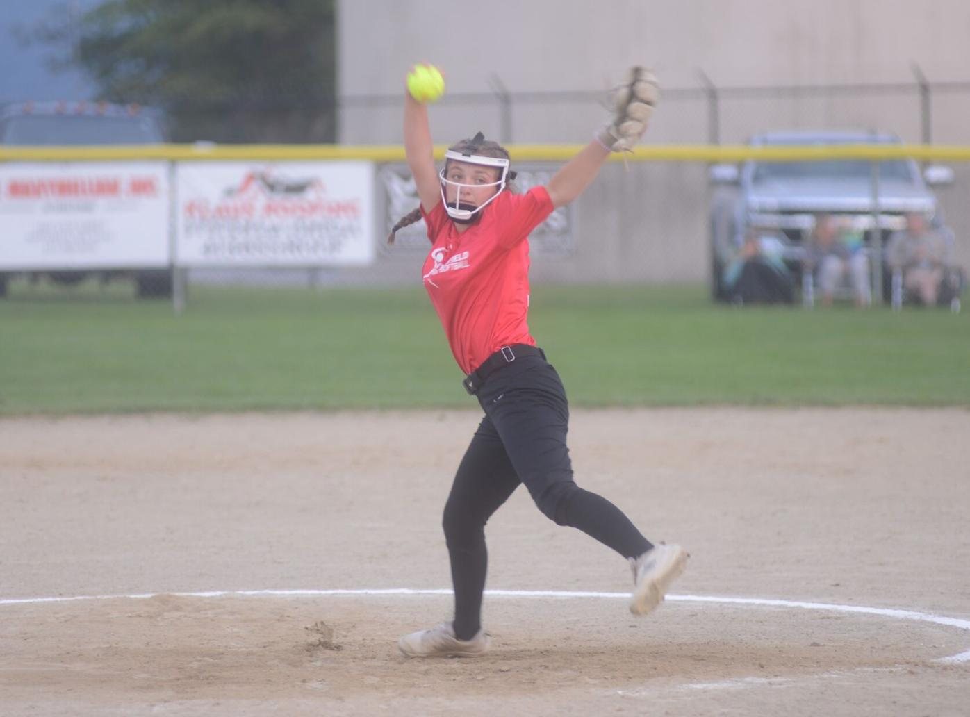 Mia Arpante pitching for Berkshire Fence