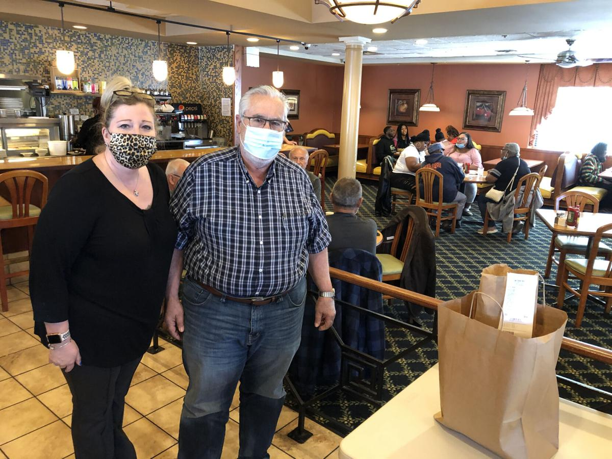 Lumes Pancake House Manager Beverly Hubick and Owner Dimitrios Klapsis