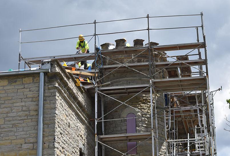 castle renovation-southwest turret