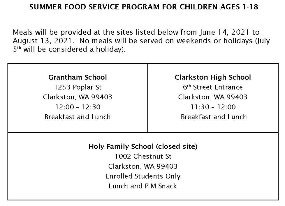 Clarkston School District Summer Food Service Program