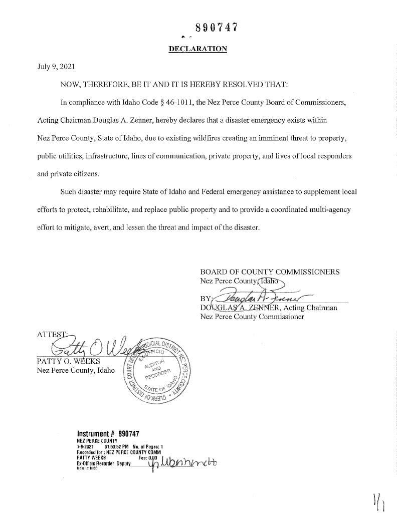 Nez Perce County Emergency Declaration (Document)