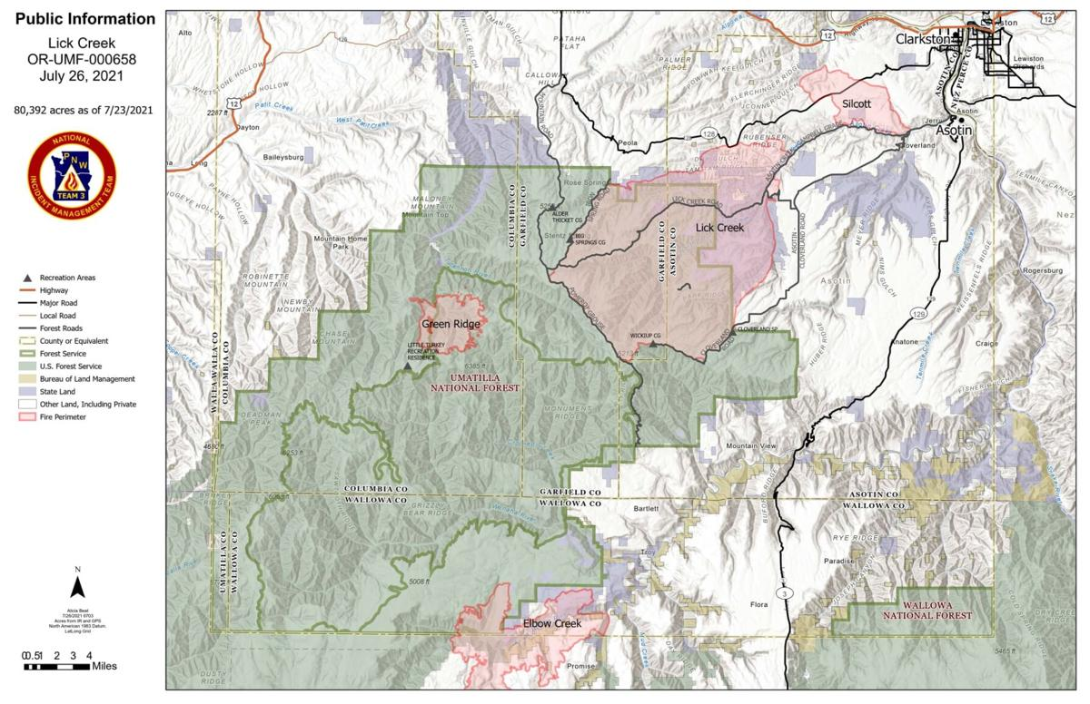 Lick Creek Fire Map 7.26.21
