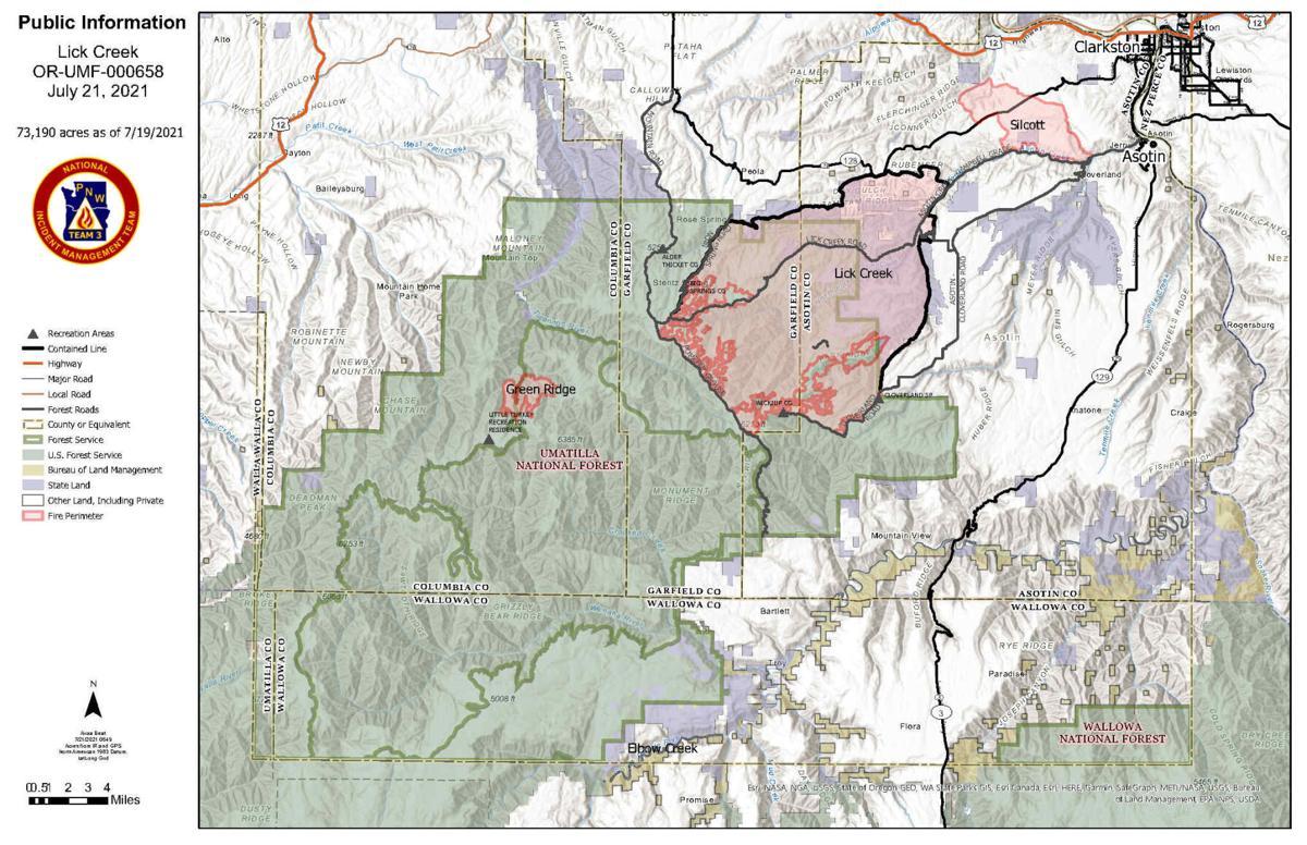 Lick Creek Fire Map 7.21.21